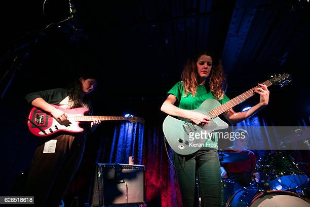Ade Martin Carlotta Cosials and Amber Grimbergen of Hinds performs at The Academy on November 29 2016 in Dublin Ireland