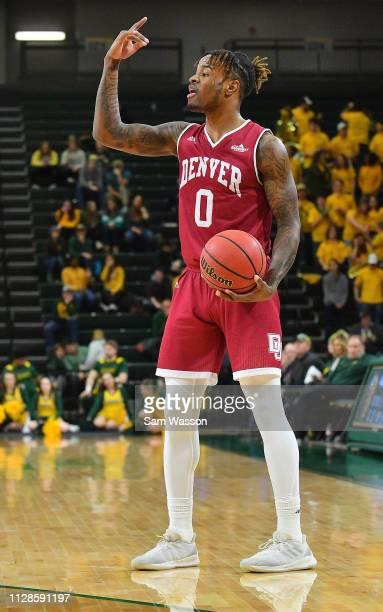 Ade Murkey of the Denver Pioneers calls a play during his team's game against the North Dakota State Bison at Scheels Center on February 09 2019 in...