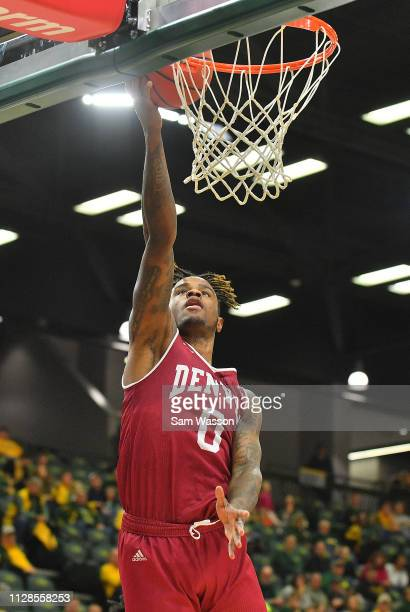 Ade Murkey of the Denver Pioneers scores on a layup against the North Dakota State Bison during their game at Scheels Center on February 09 2019 in...
