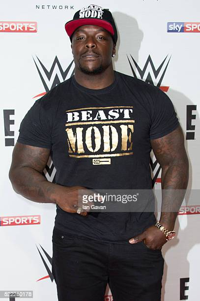 Adebayo Akinfenwa arrives for WWE RAW at 02 Brooklyn Bowl on April 18 2016 in London England