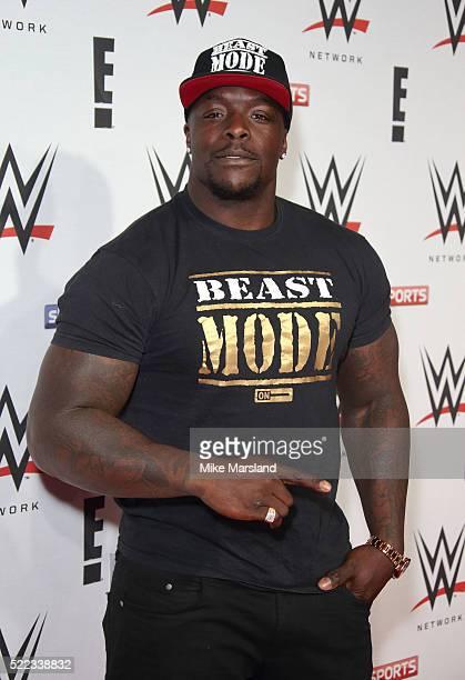 Adebayo Akinfenwa arrives for WWE RAW at 02 Brooklyn Bowl on April 18 2016 in London England