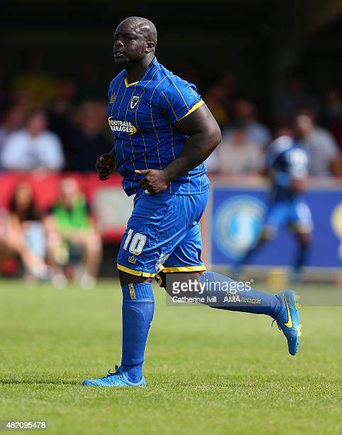Adebayo Akinfenwa of AFC Wimbledon during the Pre Season Friendly match between AFC Wimbledon and Watford at The Cherry Red Records Stadium on July...