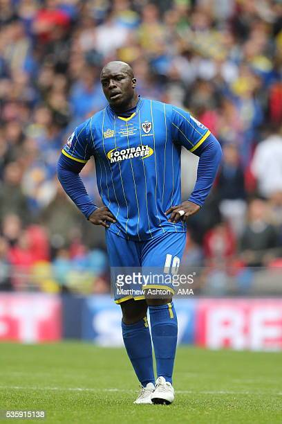 Adebayo Akinfenwa of AFC Wimbledon during the Sky Bet League Two Play Off Final between Plymouth Argyle and AFC Wimbledon at Wembley Stadium on May...