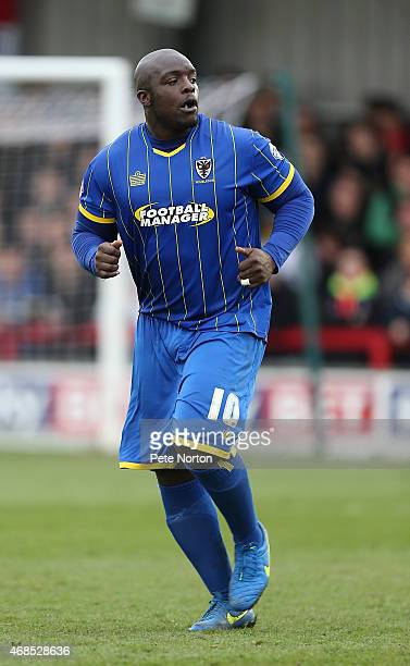 Adebayo Akinfenwa of AFC Wimbledon in action during the Sky Bet League Two match between AFC Wimbledon and Northampton Town at The Cherry Red Records...