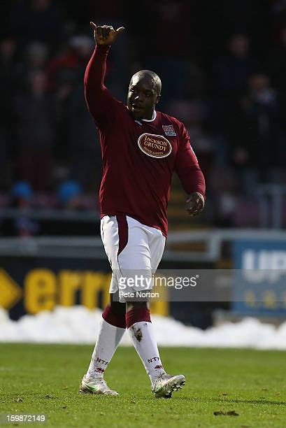 Adebayo Akinfenwa of Northampton Town celebrates after scoring his sides goal during the npower League Two match between Northampton Town and Burton...