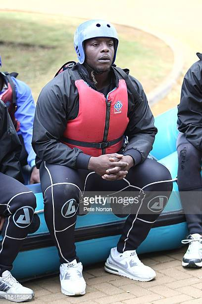 Adebayo Akinfenwa of Northampton Town looks on during a training session at Nene Whitwater Centre on July 7, 2011 in Northampton, England.