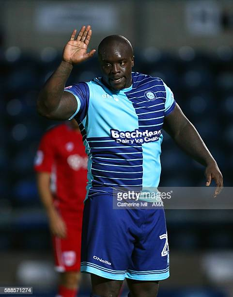 Adebayo Akinfenwa of Wycombe Wanderers during the EFL Cup match between Wycombe Wanderers and Bristol City at Adams Park on August 8 2016 in High...