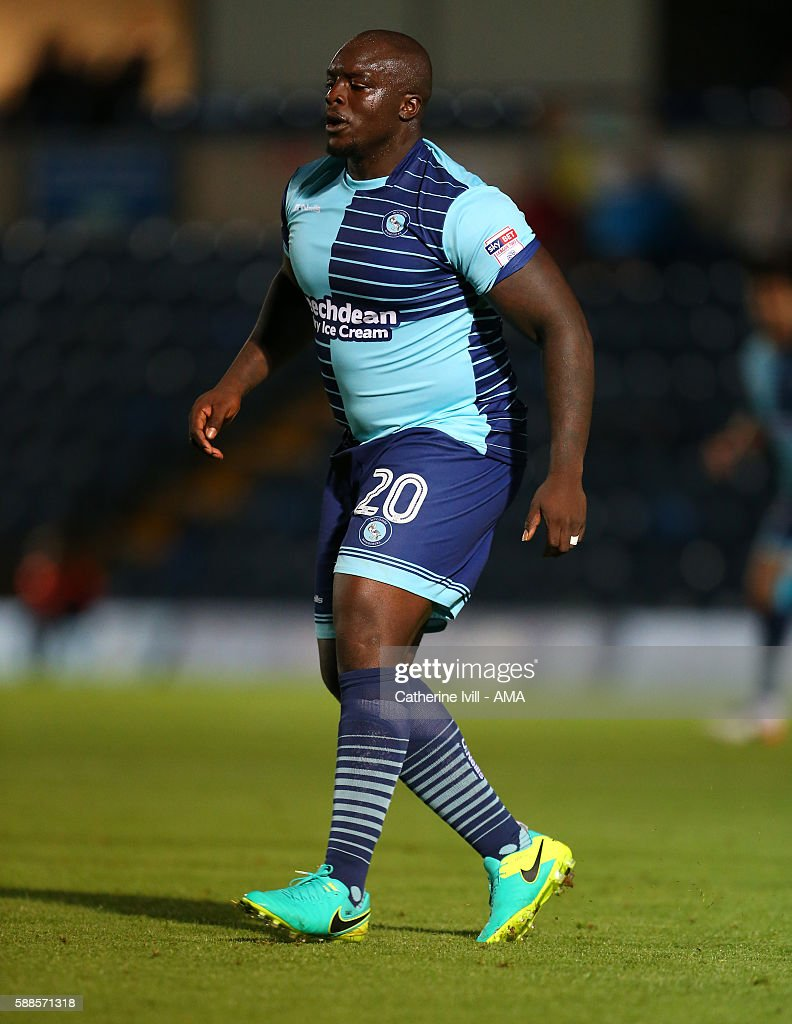 Adebayo Akinfenwa of Wycombe Wanderers during the EFL Cup match between Wycombe Wanderers and Bristol City at Adams Park on August 8, 2016 in High Wycombe, England.