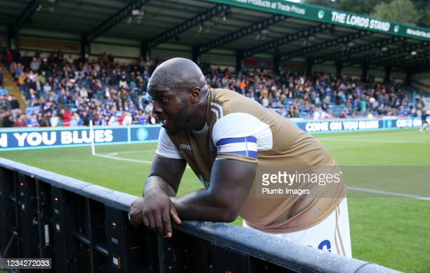 Adebayo Akinfenwa of Wycombe Wanderers during The Pre-Season Friendly between Wycombe Wanderers and Leicester City at Adams Park on July 28, 2021 in...