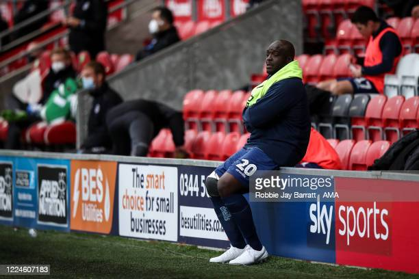 Adebayo Akinfenwa of Wycombe Wanderers during the Sky Bet League One Play Off Semifinal 1st Leg match between Fleetwood Town and Wycombe Wanderers at...