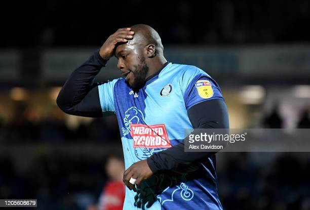 Adebayo Akinfenwa of Wycombe Wanderers reacts after a missed chance during the Sky Bet League One match between Wycombe Wanderers and Fleetwood Town...