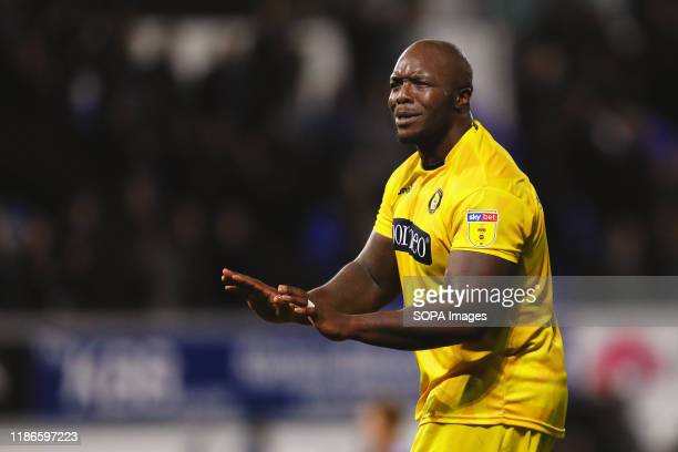 Adebayo Akinfenwa of Wycombe Wanderers seen in action during the Sky Bet League One match between Ipswich Town and Wycombe Wanderers at Portman Road