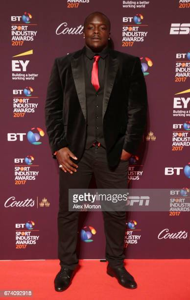 Adebayo Akinfenwa poses on the red carpet during the BT Sport Industry Awards 2017 at Battersea Evolution on April 27 2017 in London England The BT...