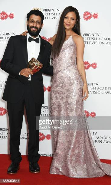 Adeel Akhtar winner of the Leading Actor award for 'Murdered By My Father' and Thandie Newton pose in the Winner's room at the Virgin TV BAFTA...