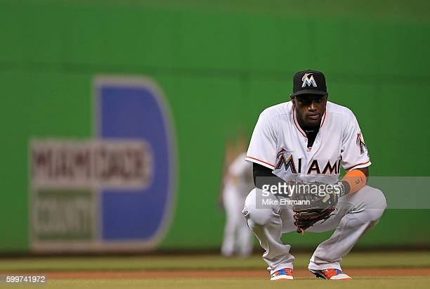 Adeiny Hechavarria of the Miami Marlins looks on during a game against the Philadelphia Phillies at Marlins Park on September 6 2016 in Miami Florida