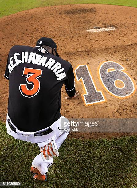 Adeiny Hechavarria of the Miami Marlins pauses behind the pitching mound after the game against the New York Mets at Marlins Park on September 28...