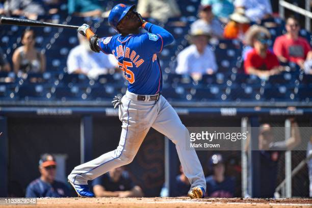 Adeiny Hechavarria of the New York Mets in action during the spring training game against the Houston Astros at The Ballpark of the Palm Beaches on...