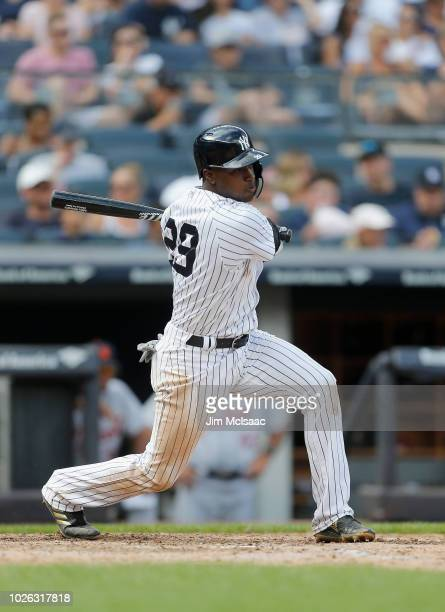 Adeiny Hechavarria of the New York Yankees in action against the at Yankee Stadium on September 2 2018 in the Bronx borough of New York City The...