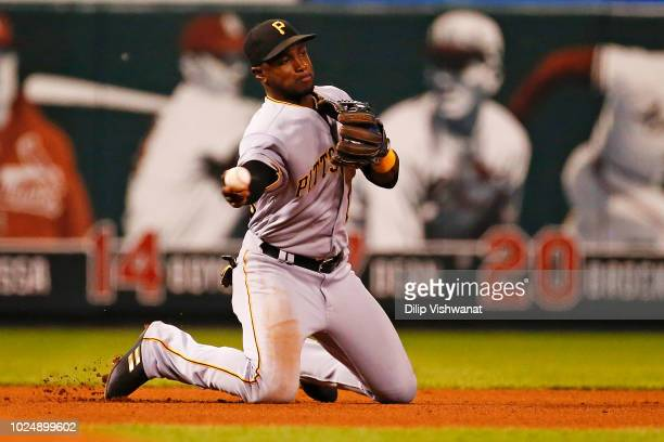 Adeiny Hechavarria of the Pittsburgh Pirates throws to second base against the St Louis Cardinals in the third inning at Busch Stadium on August 28...