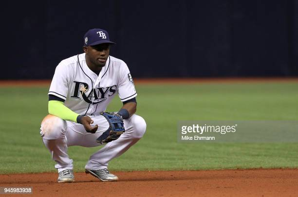 Adeiny Hechavarria of the Tampa Bay Rays looks on during a game against the Philadelphia Phillies at Tropicana Field on April 13 2018 in St...