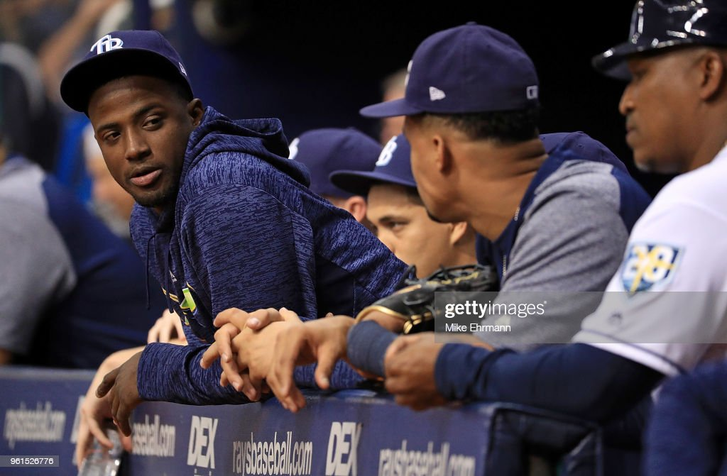 Adeiny Hechavarria #11 of the Tampa Bay Rays looks on during a game against the Boston Red Sox at Tropicana Field on May 22, 2018 in St Petersburg, Florida.