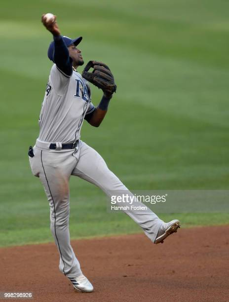 Adeiny Hechavarria of the Tampa Bay Rays makes a play at shortstop to get out Mitch Garver of the Minnesota Twins at first base during the first...