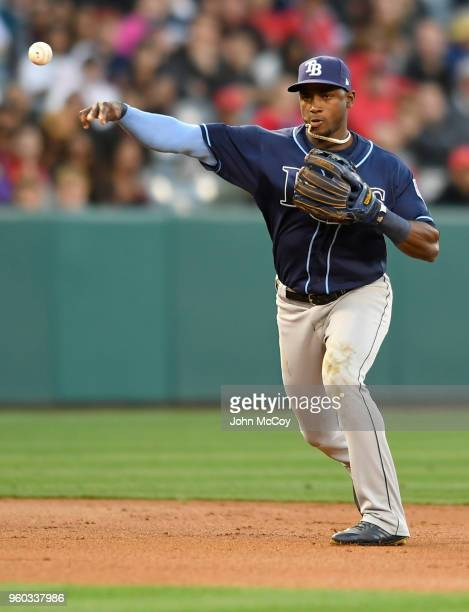 Adeiny Hechavarria of the Tampa Bay Rays makes a throw against the Los Angeles Angels of Anaheim in the first half at Angel Stadium on May 17 2018 in...