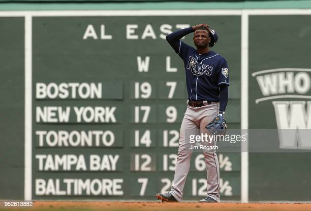 Adeiny Hechavarria of the Tampa Bay Rays reacts during a game with the Boston Red Sox at Fenway Park on April 29 2018 in Boston Massachusetts