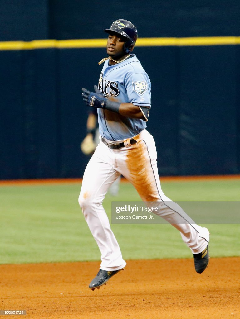 Adeiny Hechavarria #11 of the Tampa Bay Rays runs the bases after hitting a three-run home run during the sixth inning of the game against the Minnesota Twins at Tropicana Field on April 22, 2018 in St. Petersburg, Florida.