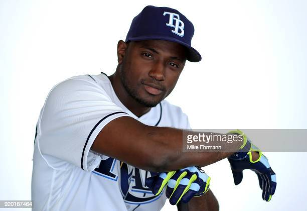 Adeiny Hechavarria of the Tampa Bay Rays sits for a portrait during photo day at Charlotte Sports Park on February 18 2018 in Port Charlotte Florida