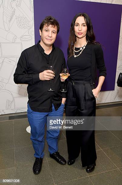 Adel Abdessemed and wife attend The Calder Prize 20052015 presented by Pace London And The Calder Foundation on February 11 2016 in London England