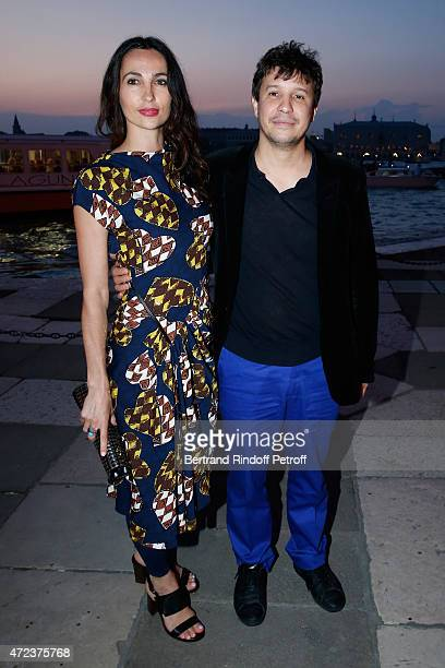 Adel Abdessemed and wife attend the Dinner At 'Fondazione Cini Isola Di San Giorgio' 2015 Venice Biennale on May 6 2015 in Venice Italy