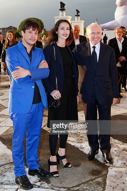 Adel Abdessemed his wife Julie and François Pinault arrive at the Dinner At 'Fondazione Cini Isola Di San Giorgio on May 29 2013 in Venice Italy
