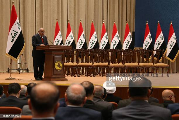 Adel Abdul Mahdi the new prime minister addresses the Iraqi parliament during the vote on the new government October 24 3018 in Baghdad The Iraqi...