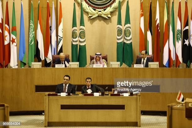 Adel alJubeir Minister of Foreign Affairs of SaudiArabia speaks as he is flanked by Ahmed AboulGheit SecretaryGeneral of the Arab League and Hossam...