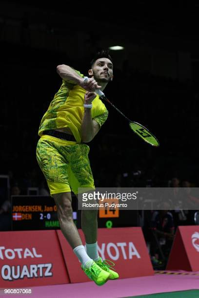 Adel Hamek of Algeria competes against Jan O Jorgensen of Denmark during Preliminary Round on day two of the BWF Thomas Uber Cup at Impact Arena on...