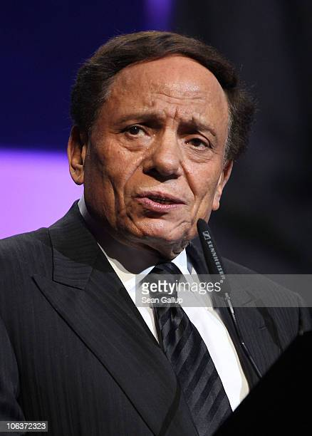 Adel Imam accepts the Lifetime Achievement Award onstage at the Awards Show and Closing Night Red Carpet and Screening of 'The First Grader' during...