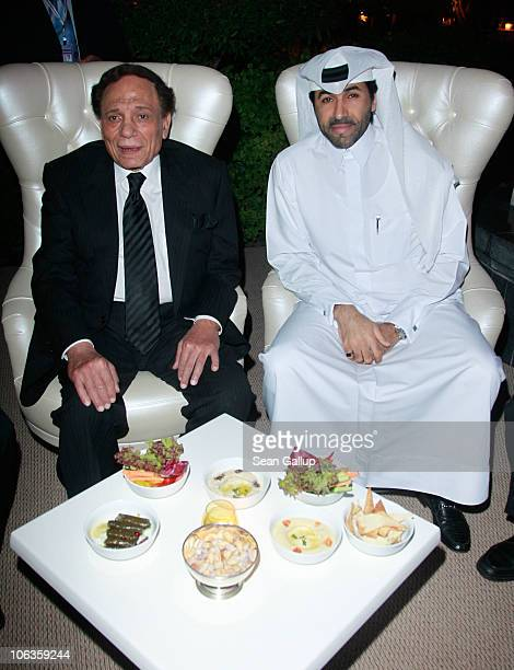 Adel Imam and HE Sheikh Jabor Bin Yousuf Al Thani attend the 2010 Doha Tribeca Film Festival held at the Katara on October 29 2010 in Doha Qatar