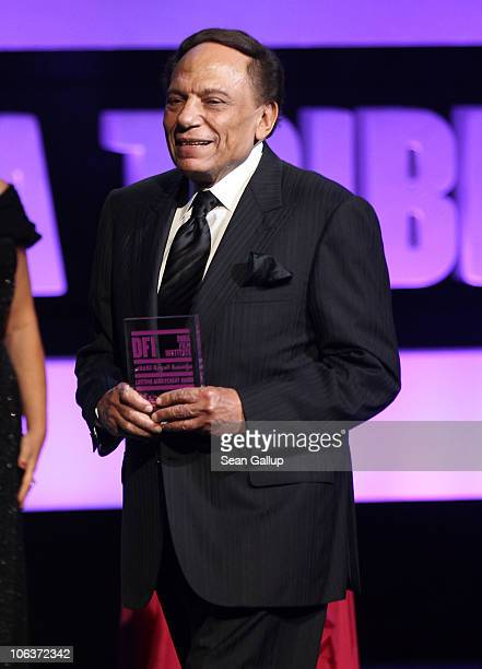 Adel Imam onstage at the Awards Show and Closing Night Red Carpet and Screening of 'The First Grader' during the 2010 Doha Tribeca Film Festival held...