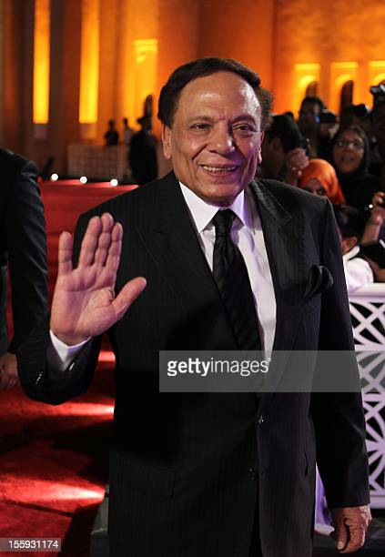 Adel Imam waves as he attends at the Awards Show and Closing Night Red Carpet and Screening of 'The First Grader' during the 2010 Doha Tribeca Film...