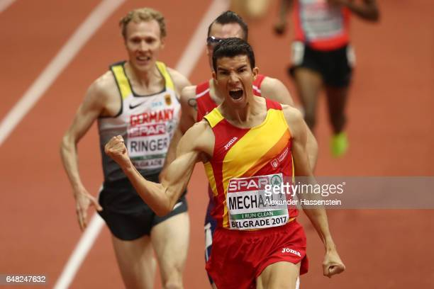 Adel Mechaal of Spain celebrates as he crosses the finish line to win the gold medal in the Men's 3000 metres final on day three of the 2017 European...