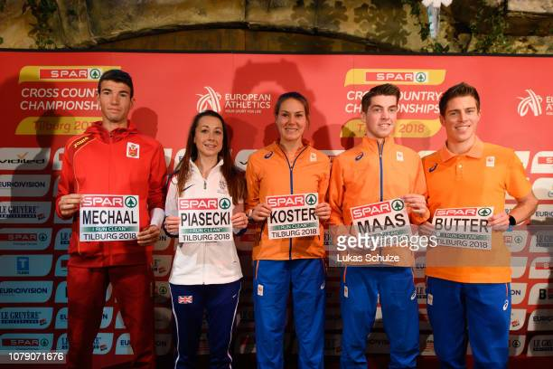 Adel Mechaal of Spain Jessica Piasecki of Great Britain Maureen Koster Luuk Maas and Michel Butter of the Netherland take part on a press conference...
