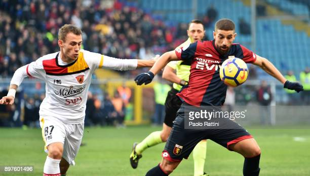 Adel Taarabt and Cristiano Lombardi during the serie A match between Genoa CFC and Benevento Calcio at Stadio Luigi Ferraris on December 23 2017 in...