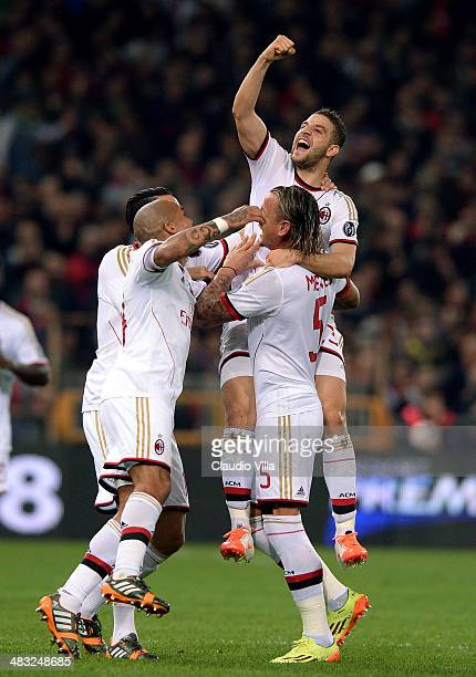 Adel Taarabt of AC Milan celebrates scoring the first goal during the Serie A match between Genoa CFC v AC Milan at Stadio Luigi Ferraris on April 7...