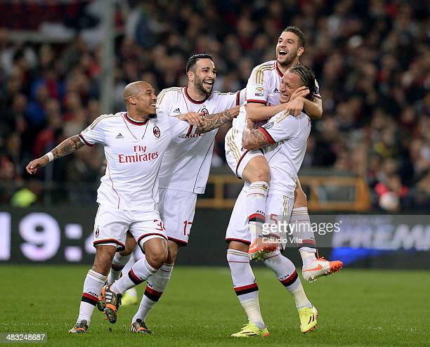 Adel Taarabt of AC Milan celebrates scoring the first goal during the Serie A match between Genoa CFC v AC Milan at Stadio Luigi Ferraris on April 7...