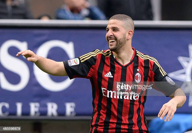Adel Taarabt of AC Milan celebrates scoring the second goal during the Serie A match between AC Milan and AS Livorno Calcio at San Siro Stadium on...