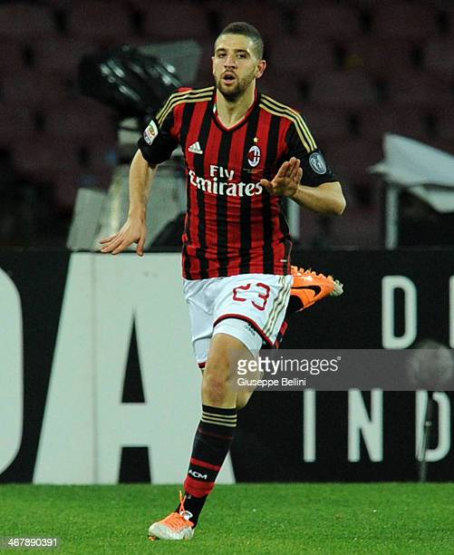 Adel Taarabt of Milan celebrates after scoring the opening goal during the Serie A match between SSC Napoli and AC Milan at Stadio San Paolo on...