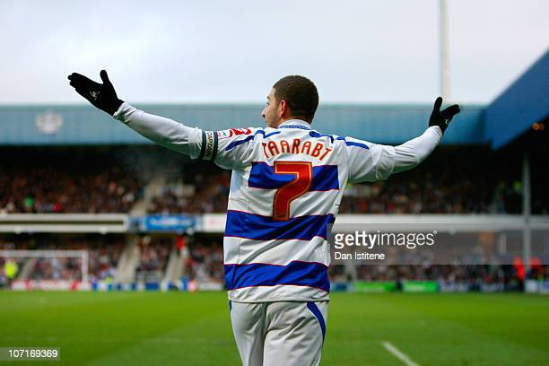 Adel Taarabt of QPR gestures during the npower Championship match between Queens Park Rangers and Cardiff City at Loftus Road on November 27 2010 in...
