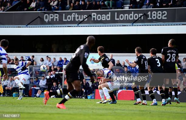 Adel Taarabt of QPR scores the opening goal from a free kick during the Barclays Premier League match between Queens Park Rangers and Tottenham...