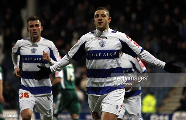 Adel Taarabt of Queen Park Rangers celebrates scoring during the Coca-Cola Football League Championship match between Queens Park Rangers and...